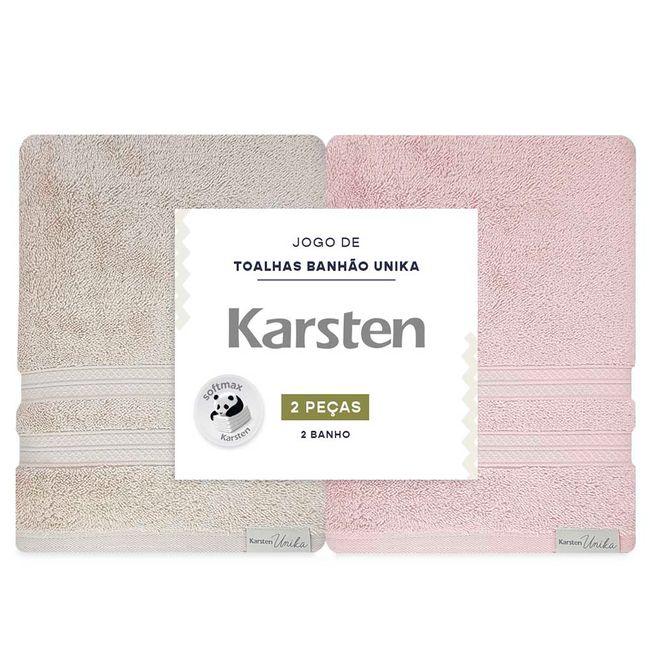 Jogo-de-Toalhas-de-Banho-Karsten-Unika-2-Pecas-Banhao-Bege-e-Rosa-embalagem-