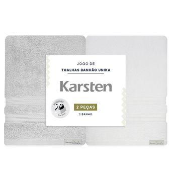 Jogo-de-Toalhas-de-Banho-Karsten-Unika-2-Pecas-Banhao-Cinza-e-Branco-embalagem-