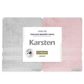 Jogo-de-Toalhas-de-Banho-Karsten-Unika-2-Pecas-Banhao-Cinza-e-Rosa-embalagem-