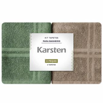 Kit-de-Tapete-para-Banheiro-Karsten-Marrom-e-Verde-Metropole