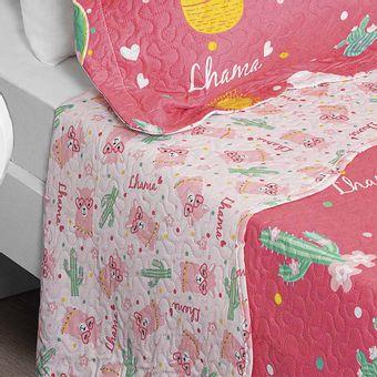 Colcha-Infantil-Lhama-Lepper-com-Porta-Travesseiros