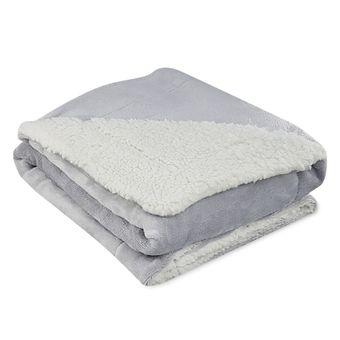 Cobertor-Dupla-Face-para-Bebe-La-de-Carneiro-Sultan-Cinza-Dove-ShopCama