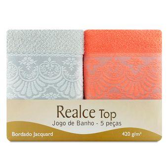 Jogo-de-Toalhas-de-Banho-5-Pecas-Coral-e-Fendi-Sultan-Embalagem-ShopCama