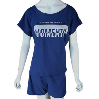 Pijama-Feminino-Shorts-e-Camiseta-Pzama-Marinho-ShopCama-Tamanho-M
