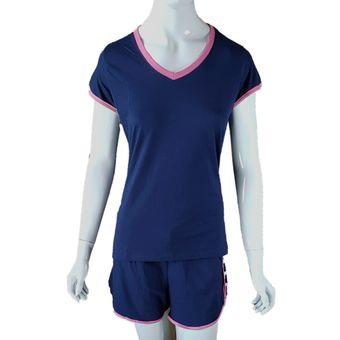 Pijama-Feminino-Tamanho-M-Shorts-e-Camiseta-Manga-Curta-Marinho-Pzama-40054-ShopCama