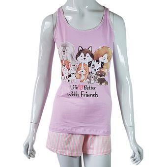 Pijama-Feminino-Tamanho-M-Shorts-e-Regata-Pzama-Petunia-