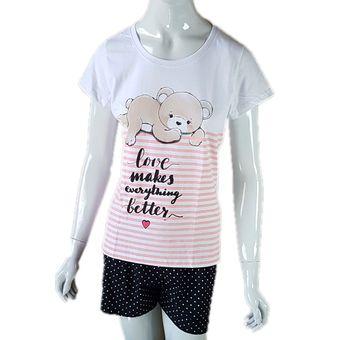 Pijama-Feminino-Tamanho-M-Shorts-e-Camiseta-Manga-Curta-Branco-Pzama-ShopCama