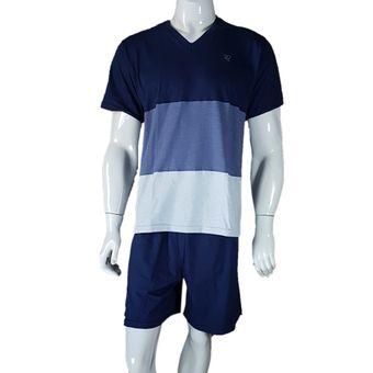 Pijama-Masculino-Tamanho-M-Bermuda-e-Camiseta-Marinho-Pzama-60035-ShopCama