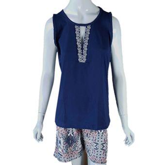 Pijama-Feminino-Tamanho-M-Shorts-e-Regata-Marinho-Pzama-Ref-100022-ShopCama