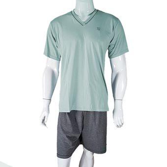 Pijama-Masculino-Tamanho-M-Bermuda-e-Camiseta-Clorofila-Pzama-600192-ShopCama