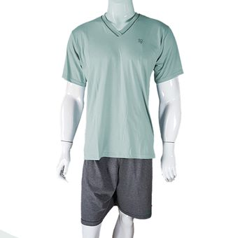 Pijama-Masculino-Tamanho-G-Bermuda-e-Camiseta-Clorofila-Pzama-600192-ShopCama