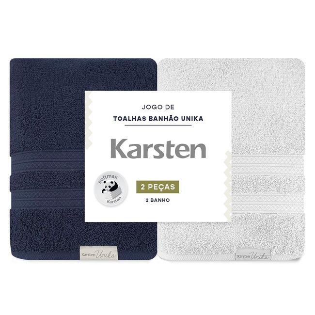 Kit-de-Toalhas-de-Banho-Karsten-Unika-2-Pecas-Marinho-e-Cinza-ShopCama