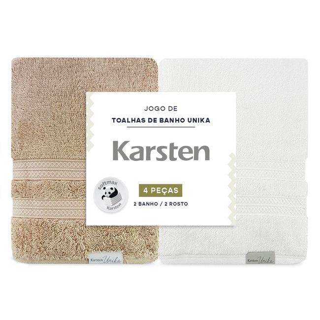 Jogo-de-Toalhas-de-Banho-Karsten-Unika-4-Pecas-Trigo-e-Branca
