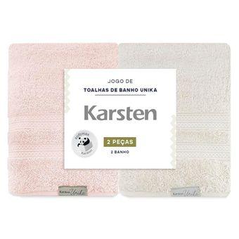 Kit-de-Toalhas-de-Banho-Karsten-Unika-2-Pecas-Grao-e-Rosa-ShopCama