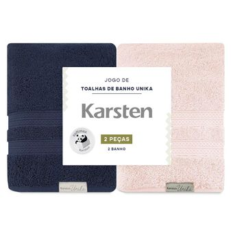 Kit-de-Toalhas-de-Banho-Karsten-Unika-Marinho-e-Rose-2-Pecas-ShopCama