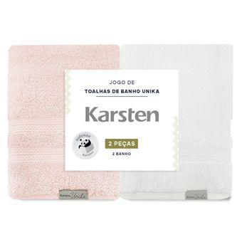 Kit-de-Toalhas-de-Banho-Karsten-Unika-Branca-e-Rose-2-Pecas-ShopCama