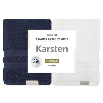 Kit-de-Toalhas-de-Banho-Karsten-Unika-Marinho-e-Branca-2-Pecas-ShopCama-