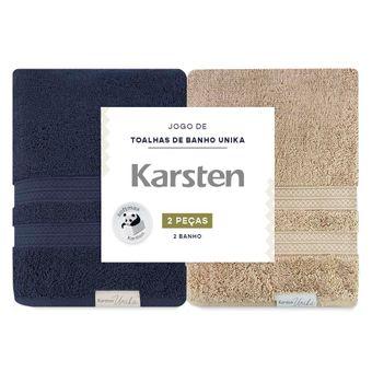 Kit-Toalha-de-Banho-Karsten-Unika-Marinho-e-Trigo-2-Pecas-ShopCama