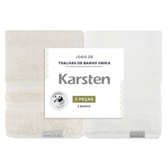 Kit-Toalha-de-Banho-Karsten-Unika-2-Pecas-Grao-e-Branca-ShopCama