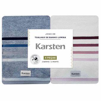 Jogo-Toalhas-de-Banho-Karsten-Lumina-4-Pecas-Azul-e-Branco
