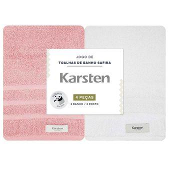 Jogo-Toalhas-de-Banho-Karsten-Safira-4-Pecas-Pink-e-Branco