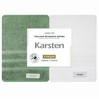 Jogo-Toalhas-de-Banho-Karsten-Safira-4-Pecas-Verde-e-Branco