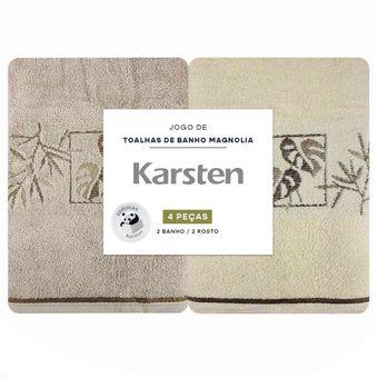Jogo-Toalhas-de-Banho-Karsten-Magnolia-4-Pecas-Marrom-e-Natural