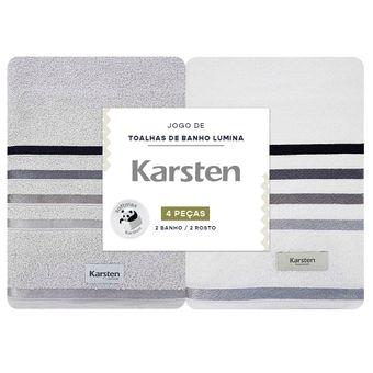 Jogo-Toalhas-de-Banho-Karsten-Lumina-4-Pecas-Cinza-e-Branco