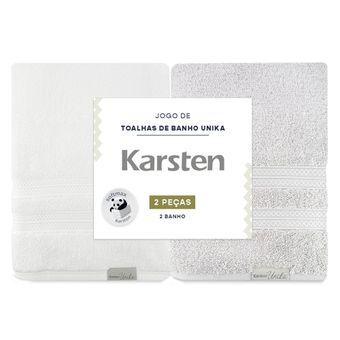 Kit-de-Toalha-de-Banho-Karsten-Unica-Cinza-e-Branca-ShopCama