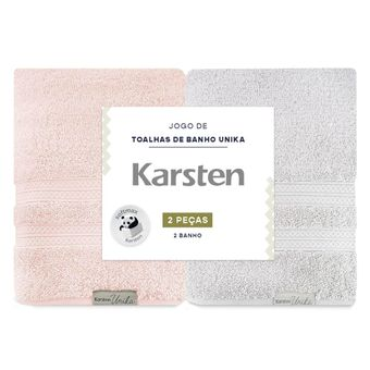 Kit de Toalha de Banho Karsten Unica 2 Peças Cinza e Rosa ShopCama