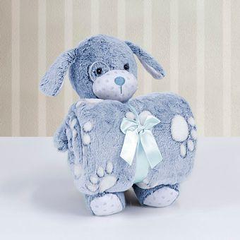 Kit-Manta-com-Bichinho-de-Pelucia-Cachorrinho-Azul-Bouton-ShopCama