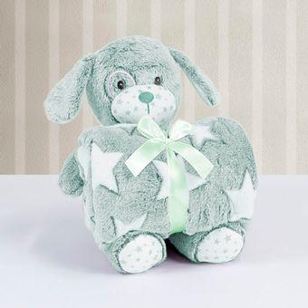 Kit-Manta-com-Bichinho-de-Pelucia-Cachorrinho-Verde-Bouton-ShopCama