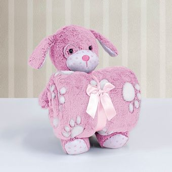 Kit-Manta-com-Bichinho-de-Pelucia-Cachorrinho-Rosa-Bouton-ShopCama