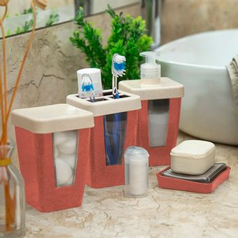 Kit-para-Banheiro-Evo-5-Pecas-Coral---ShopCama