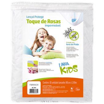 Protetor-de-Colchao-Infantil-Impermeavel-Toque-de-Rosas-Fibrasca-|-ShopCama
