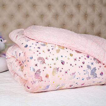 Manta-Infantil-Fleece-Metalizado-Unicornio-Rosa-Glam-Kids-Lepper-|-ShopCama