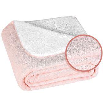 Manta-Infantil-Fleece-Metalizado-Rosa-Claro-Glam-Kids-Lepper-|-ShopCama
