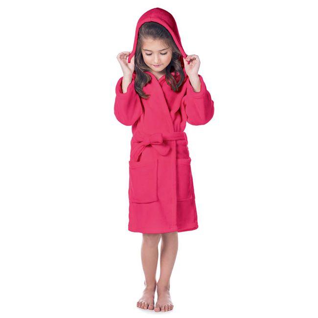 Roupao-Infantil-Fleece-com-Capuz-Pink-Tamanho-P-Lepper- -ShopCama