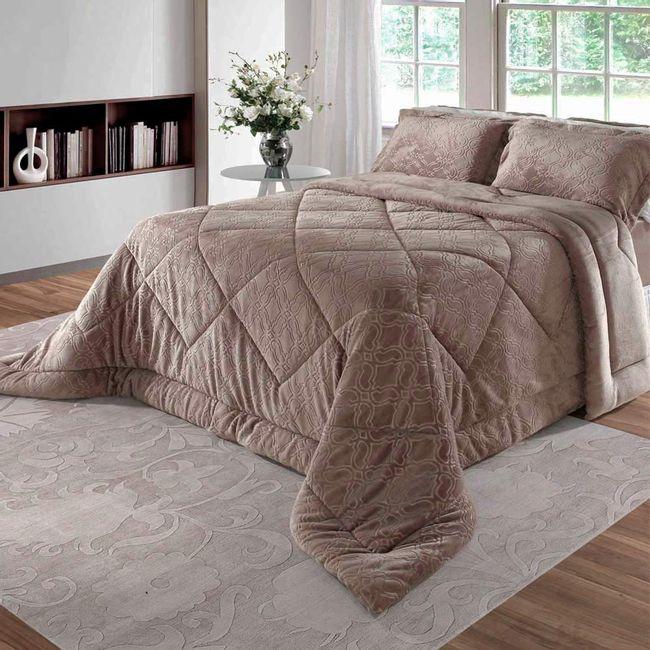 Edredom-King-Size-em-Plush-Alto-Relevo-BBc-Textil-Caqui-|-ShopCama