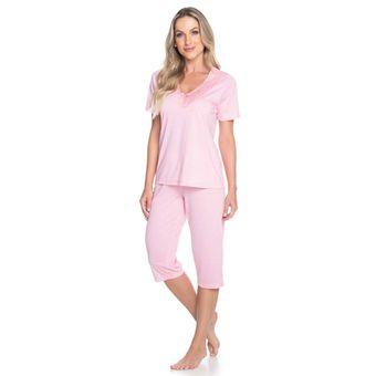 Pijama-Feminino-Capri-Manga-Curta-Rosa-Senilha-Ref-6276--P-