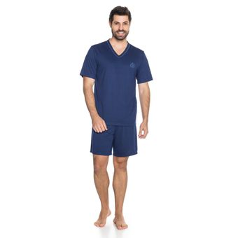 Pijama-Masculino-Shorts-e-Camiseta-Marinho-Malha-Senilha-Ref-6294--P-