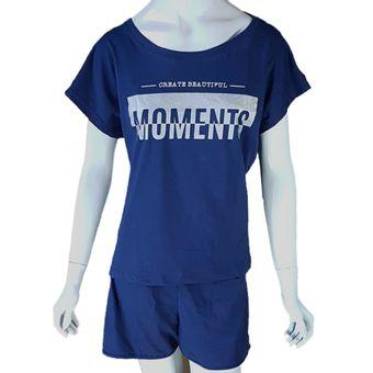 Pijama-Feminino-Camiseta-e-Shorts-Marinho-G-Pzama-Ref-040040