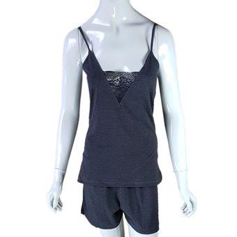 Pijama-Feminino-Alcas-e-Shorts-Mescla-Preto-GG-Pzama-Ref-40068