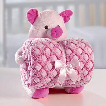 Kit-Manta-com-Bichinho-de-Pelucia-Sweet-Pig-Bouton-Baby
