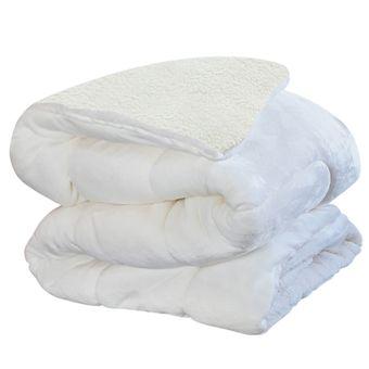 Edredom-Dupla-Face-Casal-Sultan-Flannel-e-Sherpa--220x245cm----Off-White