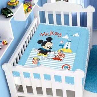 Cobertor-Bebe-Raschel-Mickey-Barquinho-Disney-Azul