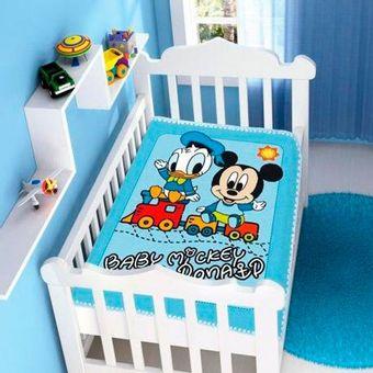 Cobertor-Bebe-Raschel-Mickey-e-Donald-Disney-Azul