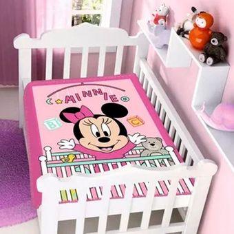 Cobertor-Bebe-Raschel-Minnie-Bercinho-Disney-Rosa