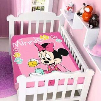 Cobertor-Bebe-Raschel-Minnie-Brincando-Disney-Rosa-