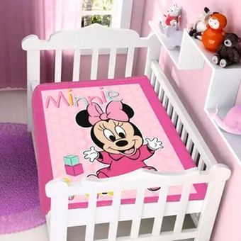 Cobertor-Bebe-Raschel-Minnie-Patinho-Disney-Rosa-